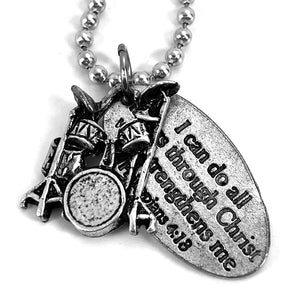 Drum Set I Can Do All Things Through Christ Tag Necklace