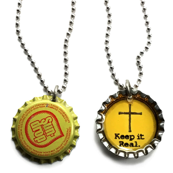 Bottle Cap Keep It Real on Ball Chain