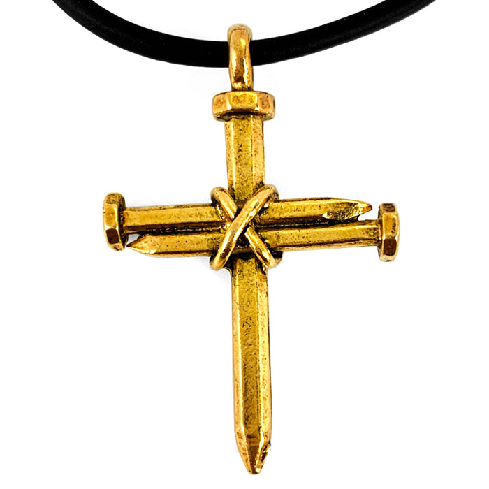 Antique Nail Cross Necklace In Gold