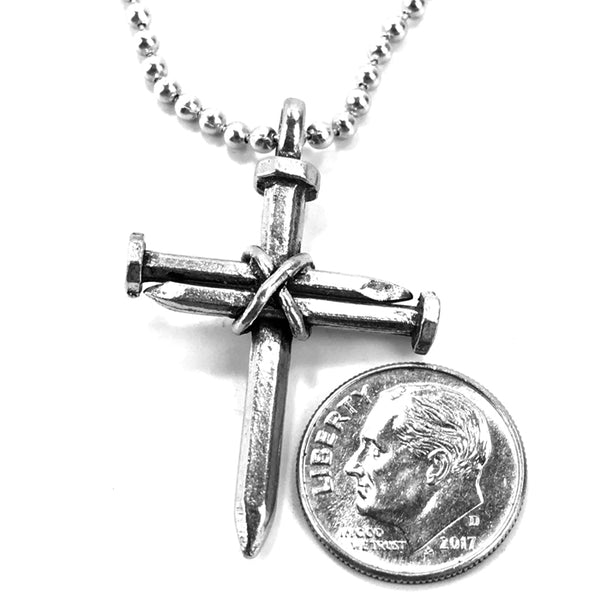 Nail Cross Necklace on ball chain