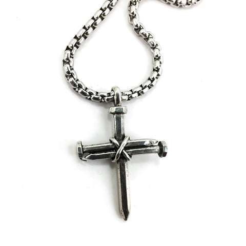 Nail Cross Necklace On Heavy Box Chain