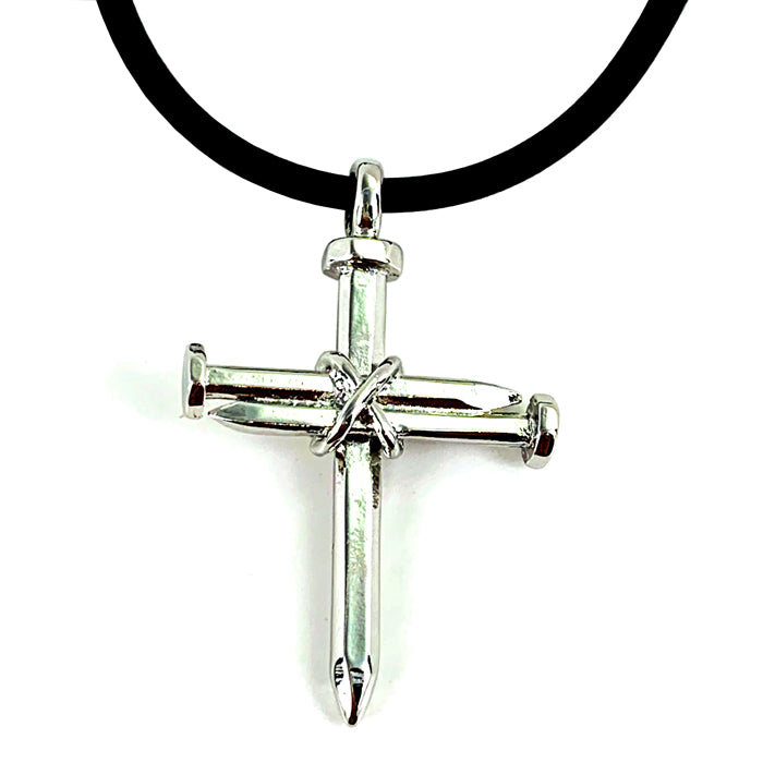 Antique Nail Cross Necklace In Rhodium Bling