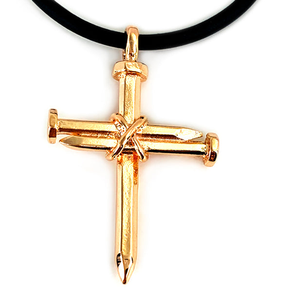 Antique Nail Cross Necklace In Rose Gold