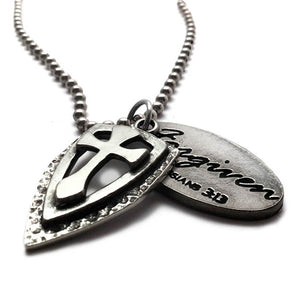 Cross Shield Tag Necklace