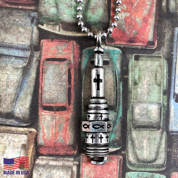 Spark Plug  Silver Ball Chain Necklace