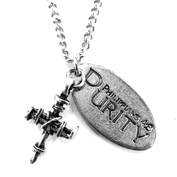 Penny Nail Cross With Purity Tag Necklace