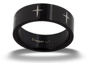 Black Cross Band Ring