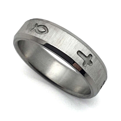 Jesus Fish and Cross Ring