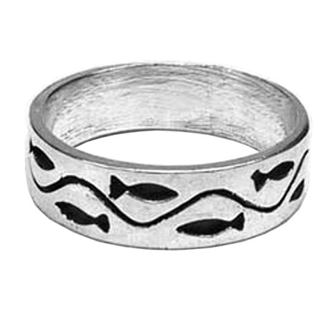 Sterling Silver Swimming Fish Band Ring