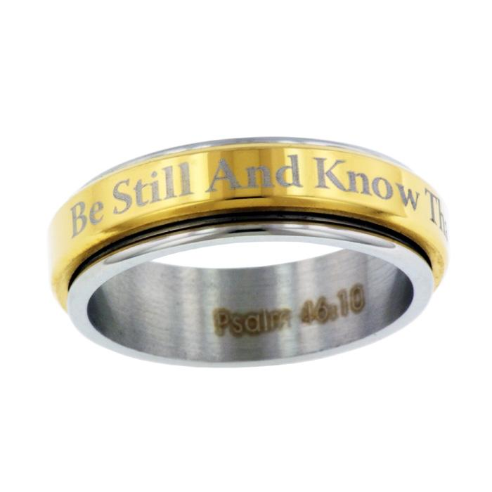 Be Still Spinner Ring Gold Finish