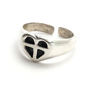 Heart Cross Band Toe Ring