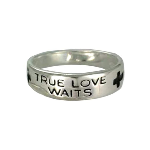 Mens Sterling Silver True Love Waits Ring