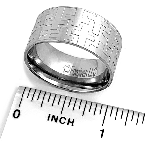 Cross Ring Mens Wide Band Ring