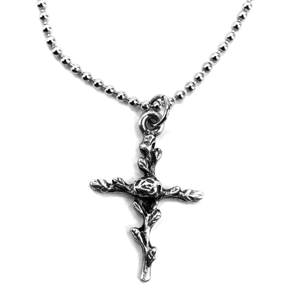 Rose Of Sharon Cross Mini Ball Chain