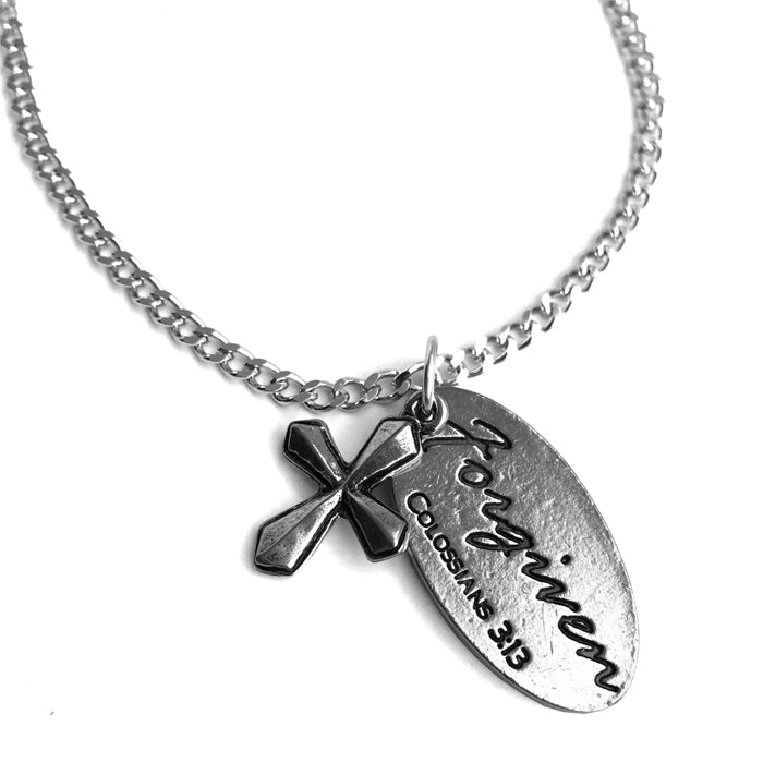Cross Forgiven Tag Chain Necklace