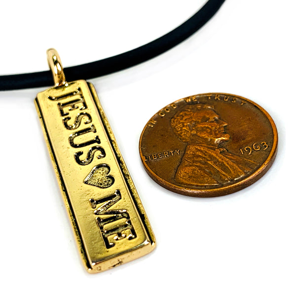 Jesus Loves Me Gold Necklace