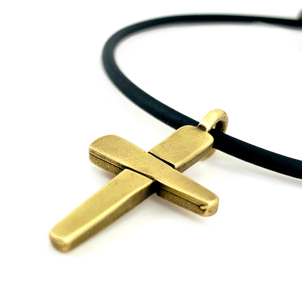 Forgiven Cross Necklace Brass