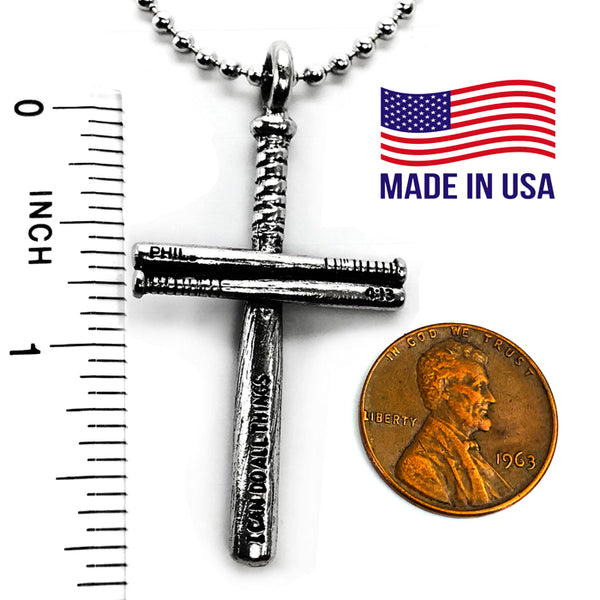 Baseball Bat Cross Necklace Pewter
