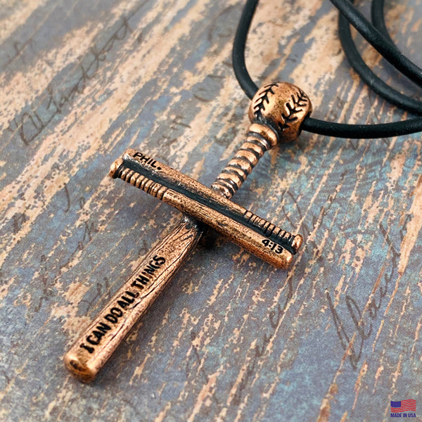 Baseball Bat And Ball Cross Necklace Antique Copper Finish on Black Rubber Cord