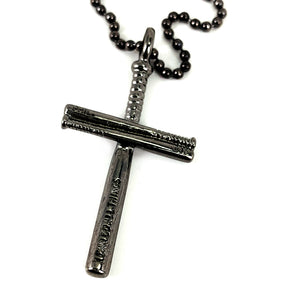 Baseball Bat Cross Gunmetal Finish Necklace