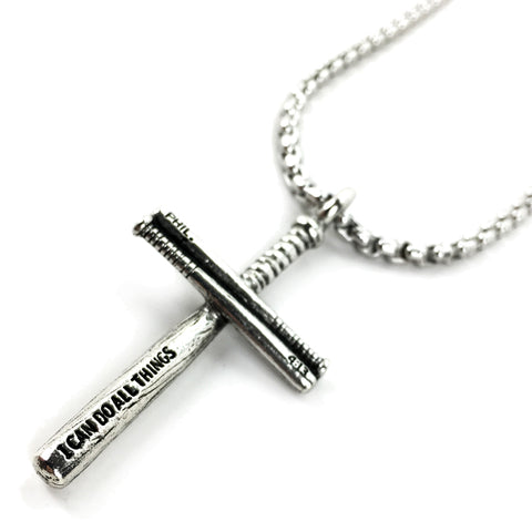 Baseball Bat Cross Necklace Pewter on Heavy Chain