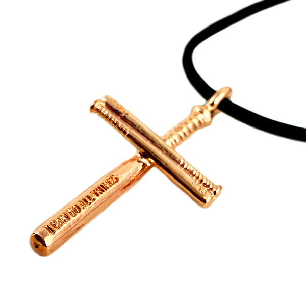 Softball Bat Cross Necklace Rose Gold
