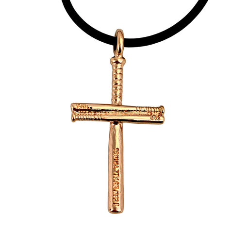 Baseball Bat Cross Necklace Rose Gold