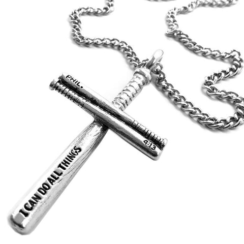 Baseball Bat Cross Necklace Pewter on 18 Inch chain