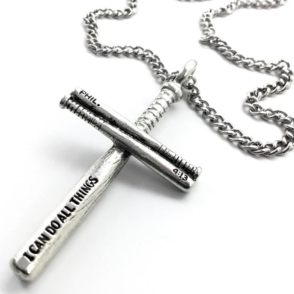 Softball Bat Cross Necklace Pewter on chain