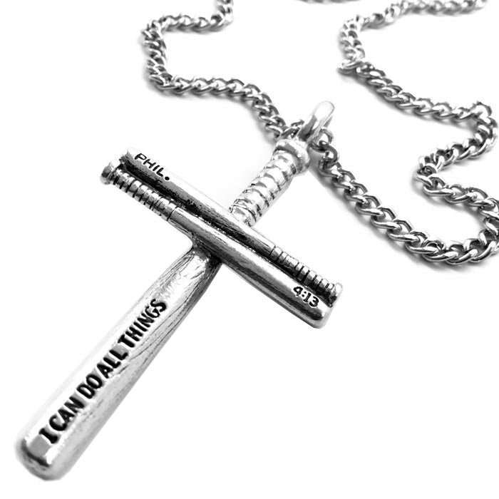 Baseball Bat Cross Necklace Pewter on chain