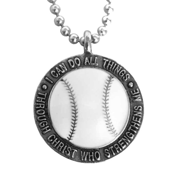 Phil 4:13 Baseball Necklace