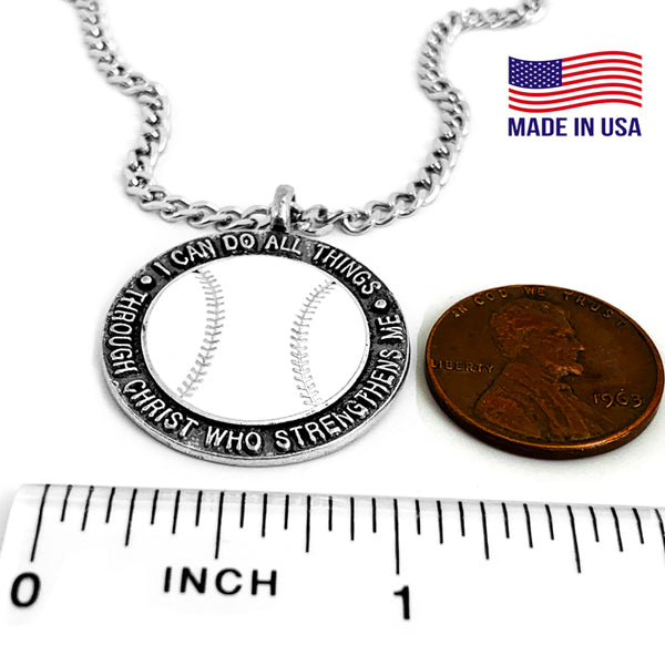 Baseball Necklace Phil 4:13 on Chain