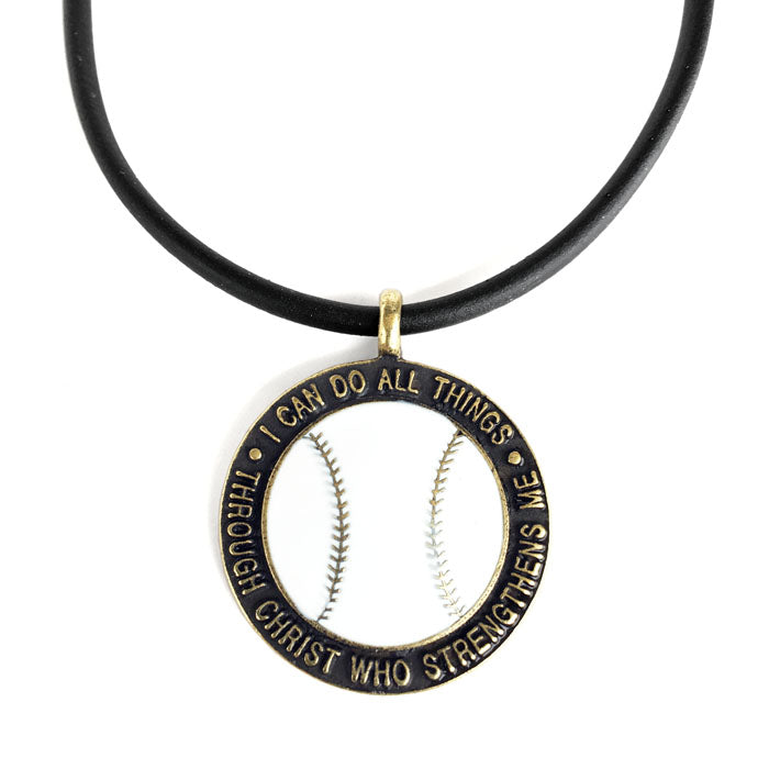Baseball Necklace Phil 4:13 Brass