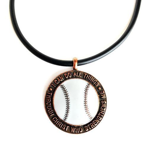 Baseball Necklace Phil 4:13 Copper