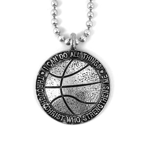 Basketball Antique Silver Necklace