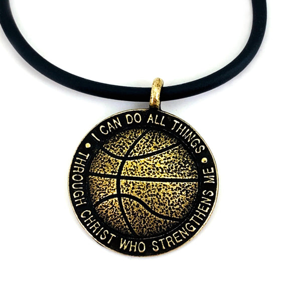 Basketball Antique Brass Necklace