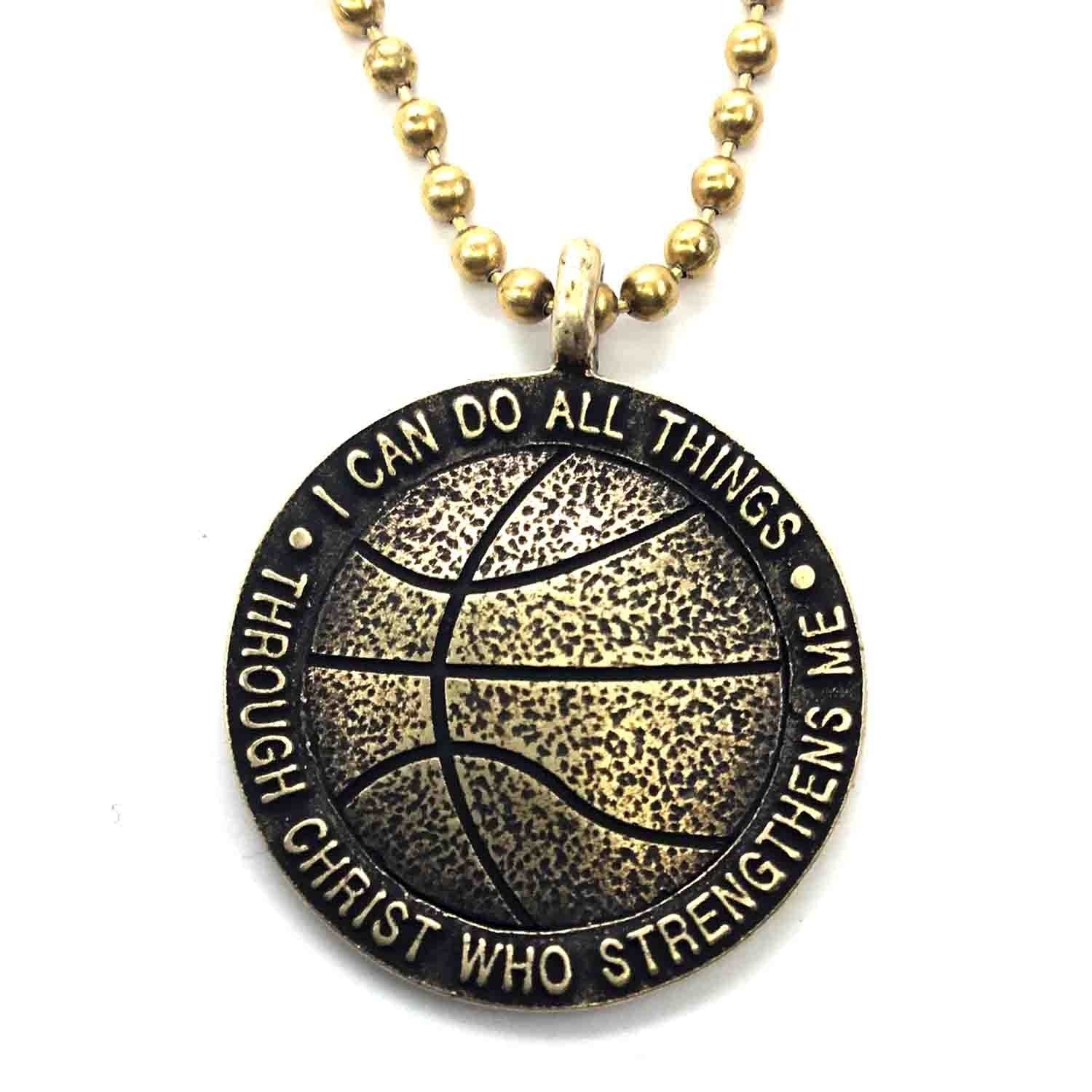 Brass Finish Basketball Necklace