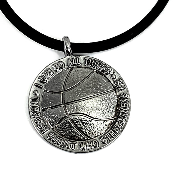 Basketball Necklace Gun Metal Color Finish