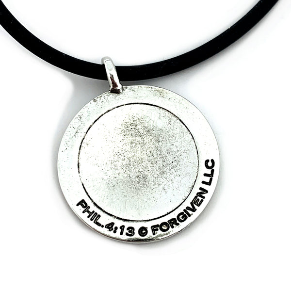 Basketball Necklace Rhodium Metal Bling Finish