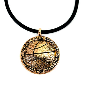 Basketball Necklace Rose Gold Color Finish