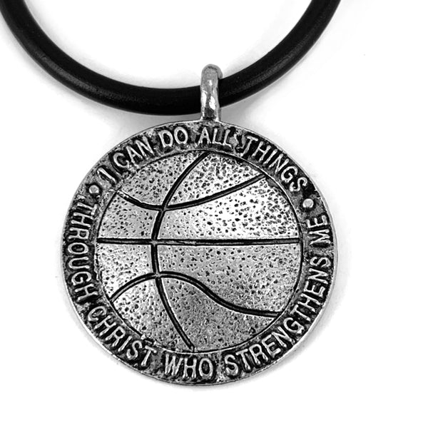 Basketball Antique Pewter Necklace
