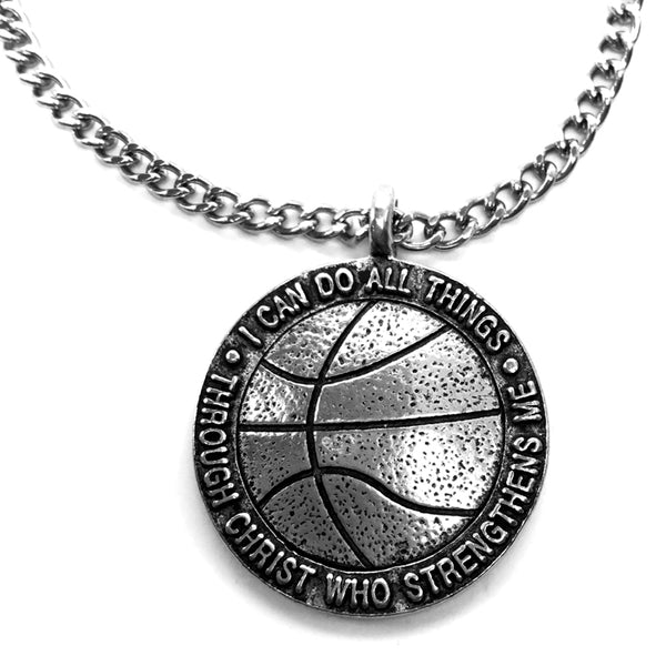 Basketball Antique Pewter Necklace On 18 Inch Chain