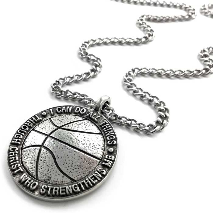 Basketball Antique Pewter Necklace On Chain