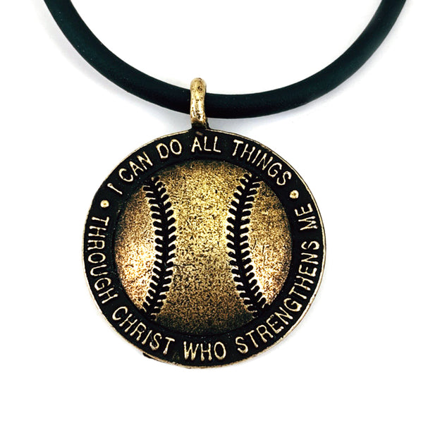 Baseball Necklace Brass