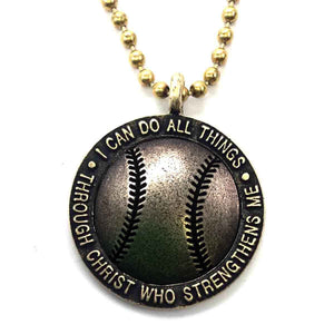 Brass Baseball Necklace