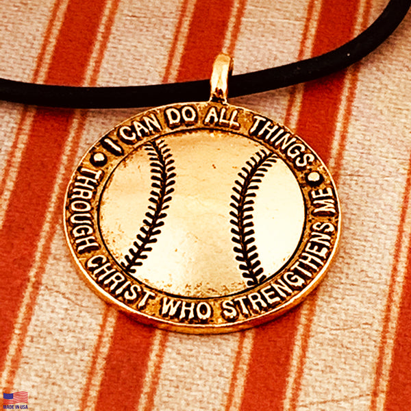 Baseball Necklace Gold