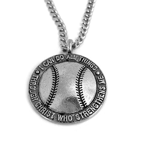 Softball Necklace 18 Inch Chain