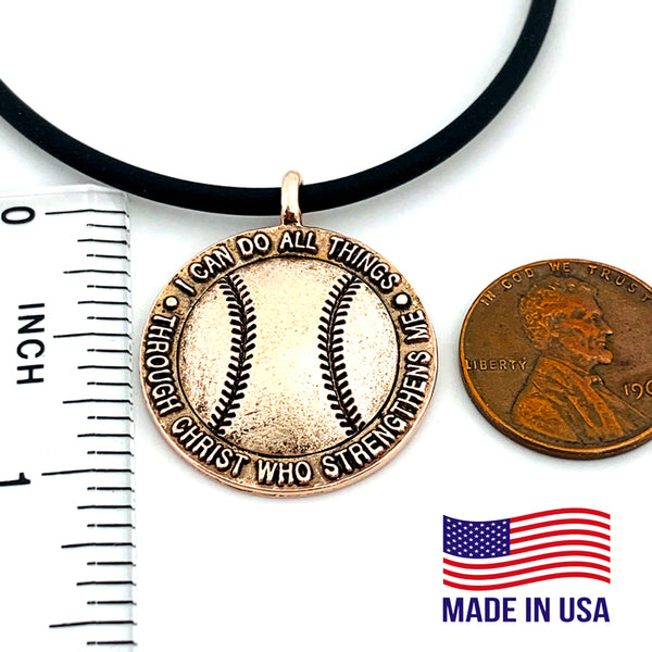 Baseball Necklace Rose Gold Metal Finish Color