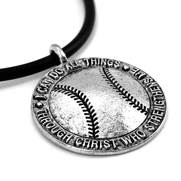 Softball Necklace Antique Silver