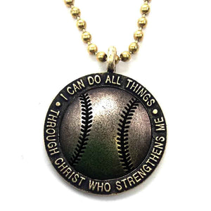 Brass Softball Necklace